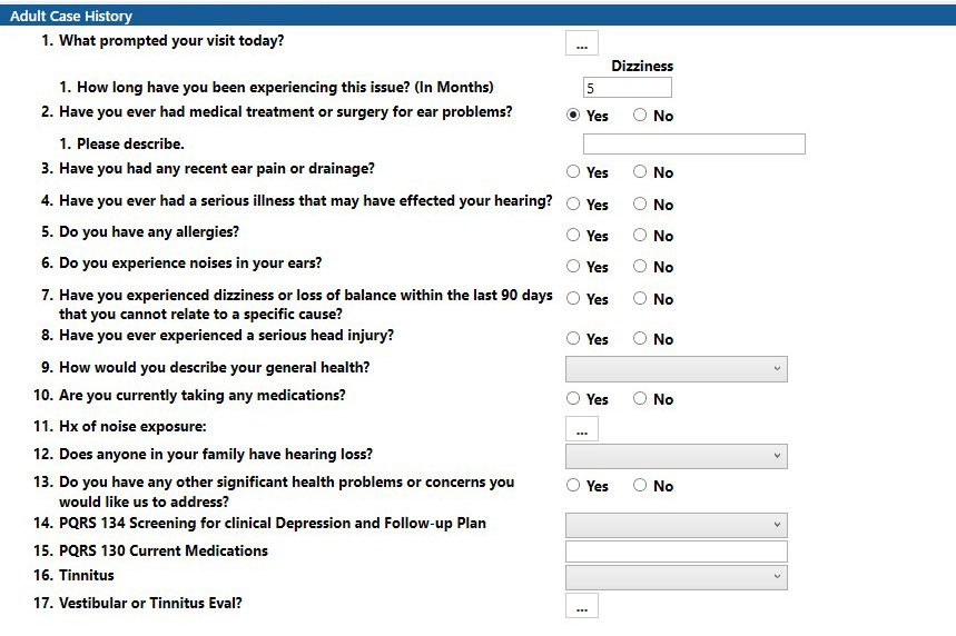 Audiology Adult Case History Questionnaire TIMS Software
